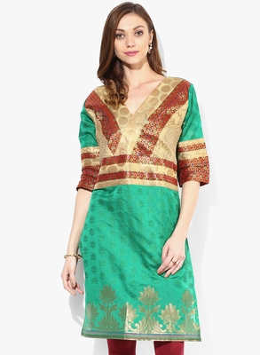 Green woven chanderi stitched kurtis