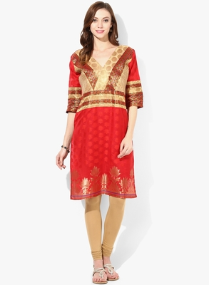 RED woven chanderi stitched kurtis
