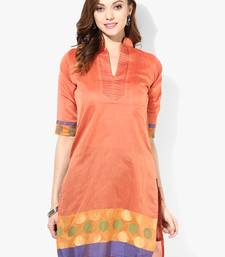 Orange woven chanderi stitched kurti