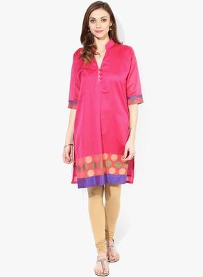 Pink woven chanderi stitched kurtis