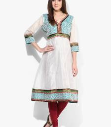 White woven net stitched kurtis