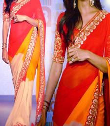 Buy Red and Orange Multicolor Embroidery Zari work Bollywood Actress Shilpa Shetty Georgette Saree bollywood-saree online