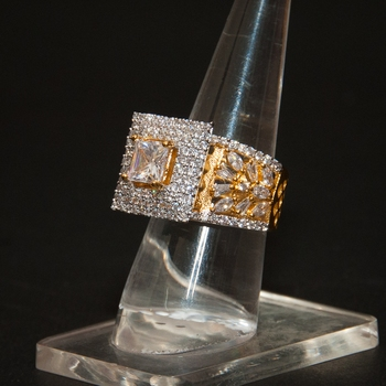 FINE CZ GOLD PLATED RING