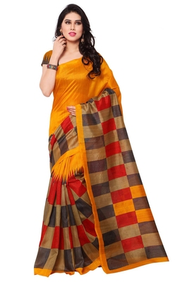 Yellow plain bhagalpuri saree with blouse