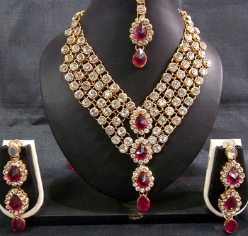 Dark Pink Stone 4 Line dulhan Necklace set