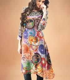 Buy Multi colour Georgette Pakistani Kurti Comprising Traditional Motif pakistani-kurtis online
