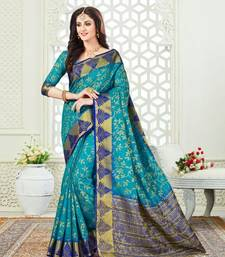 Buy Sky blue embroidered silk saree with blouse handloom-saree online