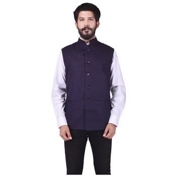 Purple Cotton Poly Nehru Jacket