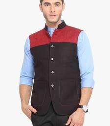 Black Cotton Poly Nehru Jacket
