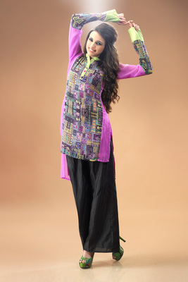 Multi colour and Purple Georgette Kurti Containing Digital Print