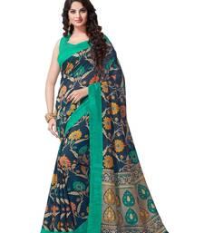 Buy Multicolor printed cotton saree with blouse cotton-saree online