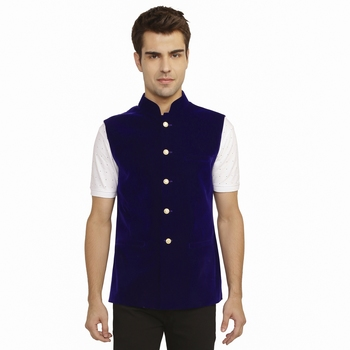 Blue Velvet Nehru Jacket
