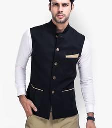 Buy Black Cotton Poly Nehru jacket wedding-season-sale online