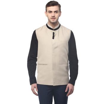 Beige  Cotton  Poly  Nehru  Jacket