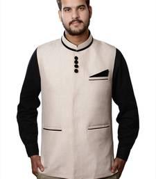 Buy Beige Cotton Jute Nehru jacket nehru-jacket online