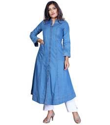 Blue plain cotton stitched kurti
