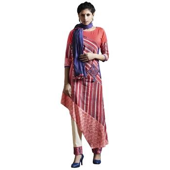 Peach sequins cotton stitched salwar with dupatta