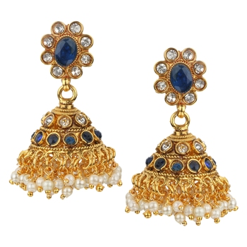 Jhumki Wedding Blue Copper Jhumka Earring for Women