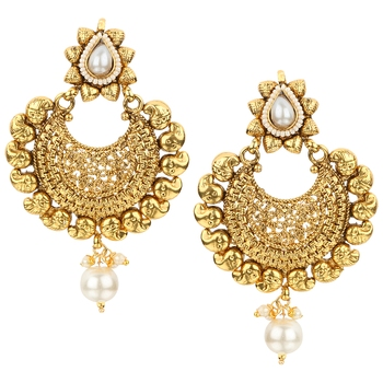 Kundans Indian White Copper Dangler drop Earring for Women