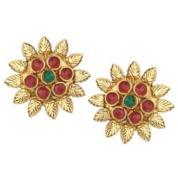 Ladies Studs Maroon Green Copper Stud Earring for Women