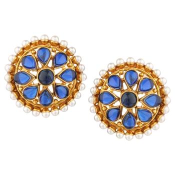 Ladies Studs Blue Copper Stud Earring for Women