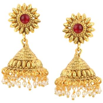 Jhumki Wedding Maroon Copper Jhumka Earring for Women