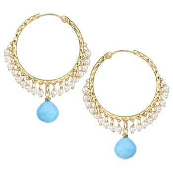 Chand Bali Hoop Opaque Blue Metal Alloy Hoop Earring for Women