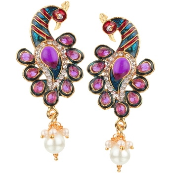 Kundans Indian Purple Metal Alloy Dangler drop Earring for Women