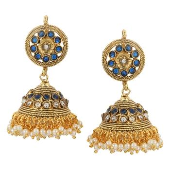 Jhumki Wedding Blue Copper Jhumka Earring for Women