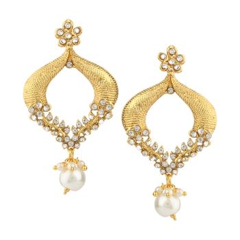 Kundans Indian White Metal Alloy Dangler drop Earring for Women