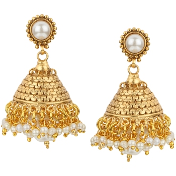 Jhumki Wedding White Copper Jhumka Earring for Women