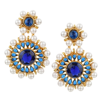 Kundans Indian Blue Copper Dangler drop Earring for Women