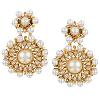 Kundans Indian White Copper Dangler drop Earring for Women
