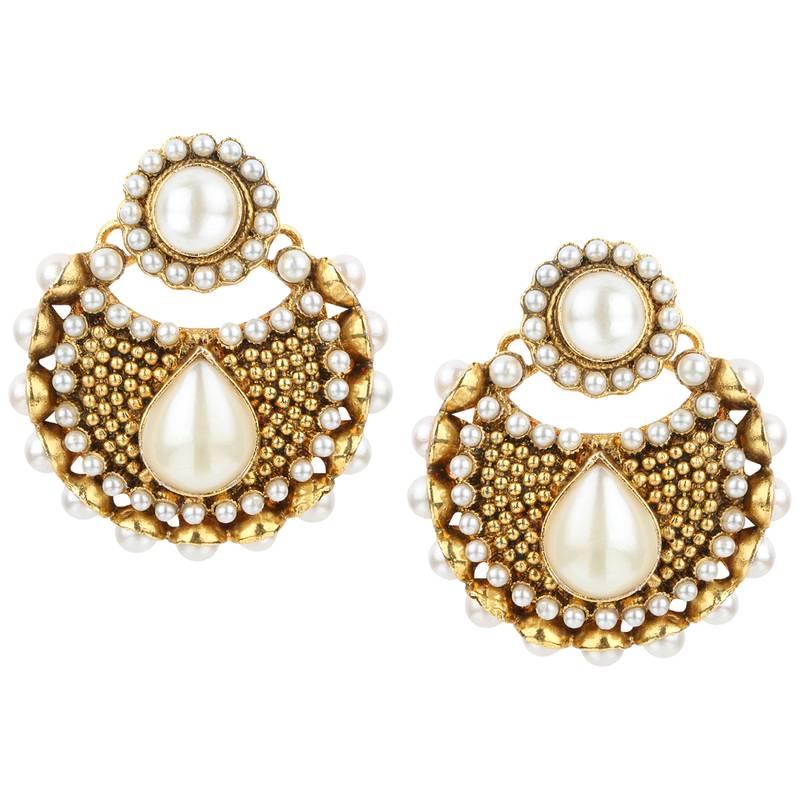 Buy kundans indian white metal alloy dangler drop earring