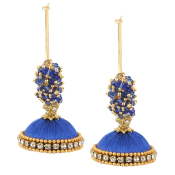 Chand Bali Blue Silk Thread Hoop Bali Earring for Women