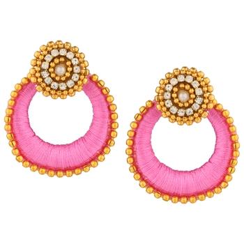Silk Thread Rani Metal Alloy Dangler drop Earring for Women