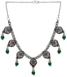 Buy Green Color Imitation Pearl Oxidised Traditional Necklace Necklace online