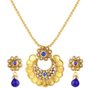 Bridal Jewellery Sets Blue Metal Alloy With Earring and Chain Pendant Set for Women