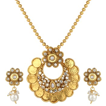 Bridal Jewellery Sets White Metal Alloy With Earring and Chain Pendant Set for Women