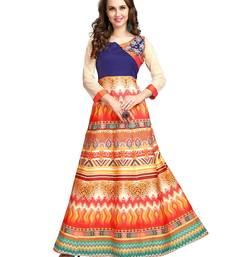 Buy Orange printed cotton poly kurtas-and-kurtis long-kurti online