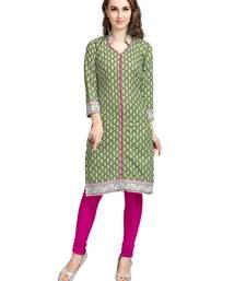 Buy Green printed cotton kurtas-and-kurtis kurtas-and-kurtis online
