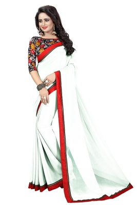 White Printed Faux_Georgette Saree with Blouse