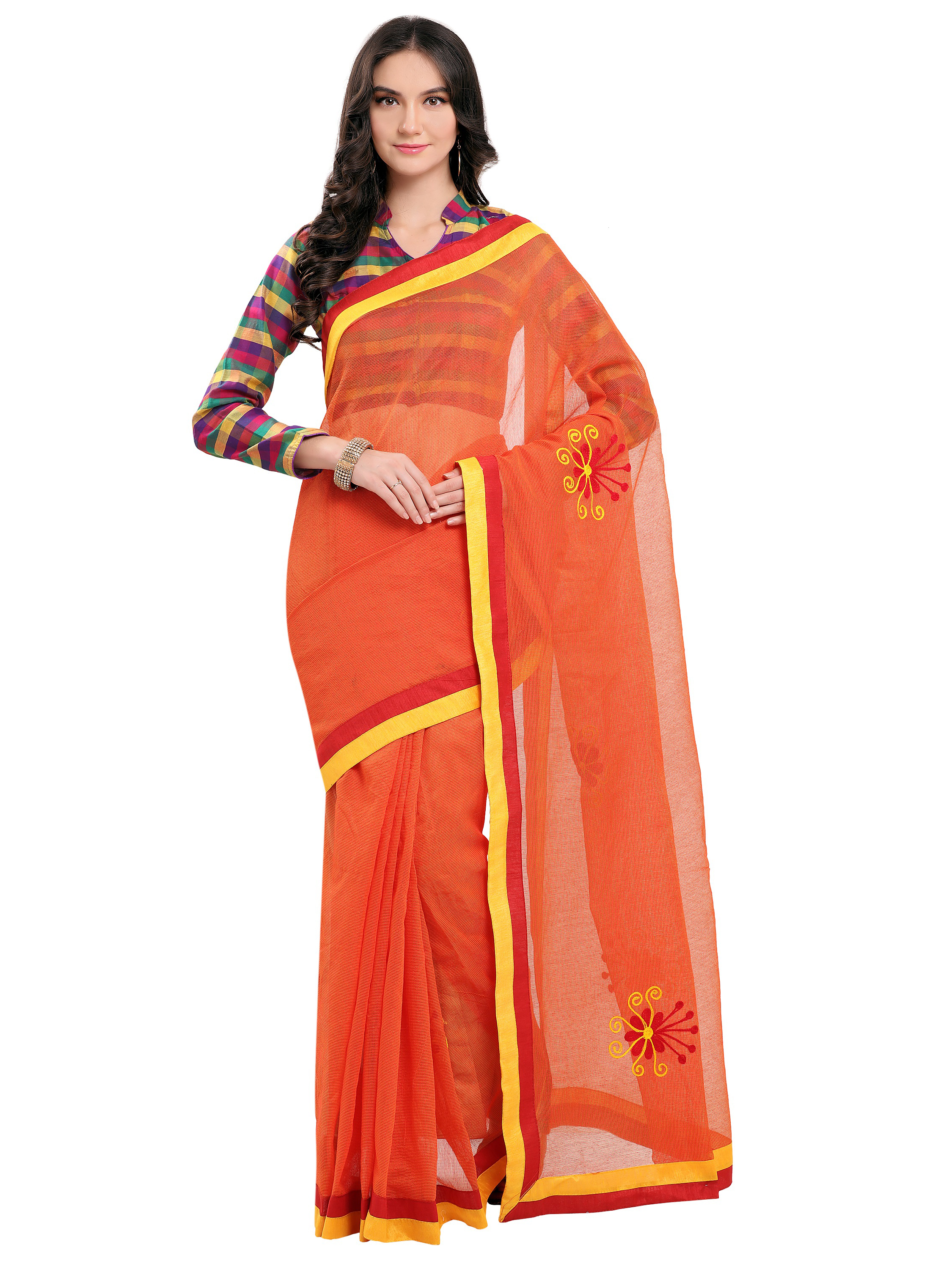 a12a578e5f Orange embroidered super net saree with blouse - Blissta - 2308288
