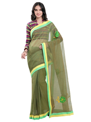 Green embroidered super net saree with blouse