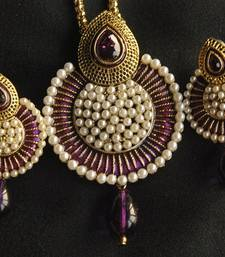 Buy Beautiful Purple Meena Pendant studded with Pearls necklace-set online