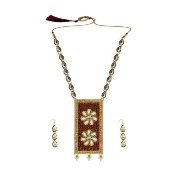 Golden Stone Stud-Gold Platted Brass Pendant Set