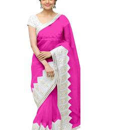 Buy Pink embroidered georgette saree with blouse bollywood-saree online