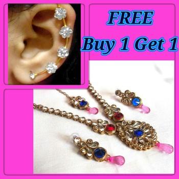 Buy 1 Get 1 Free Multi Kundan Drop Necklace Set