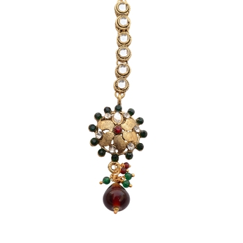 Antique Gold Sunflower Maang Tikka For Women
