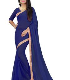 Buy Dark blue plain pure nazneen saree with blouse fancy-saree online